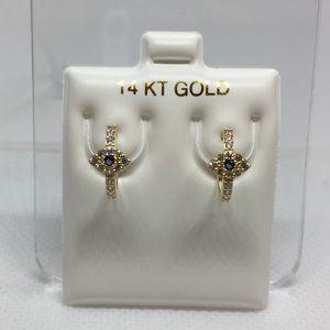 14k solid gold evil eye hugging hoop earrings